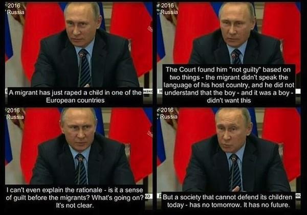 Putin Speaks about Migrant Child Rape.  [trigger small {{{Putin Speaks about Migrant putin sPeAkS about migrant child Rape