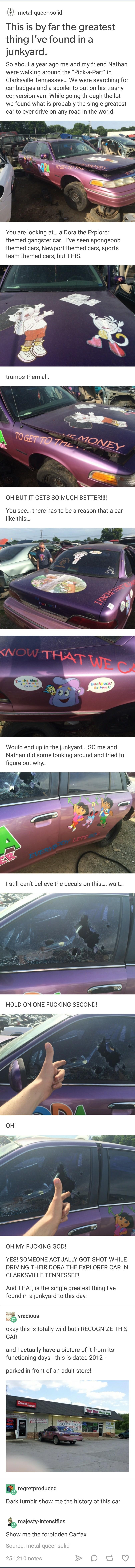 """Dora the Explorer Car. .. """"Show me cars with no related homicide cases."""" Dora the Explorer Car """"Show me cars with no related homicide cases """""""