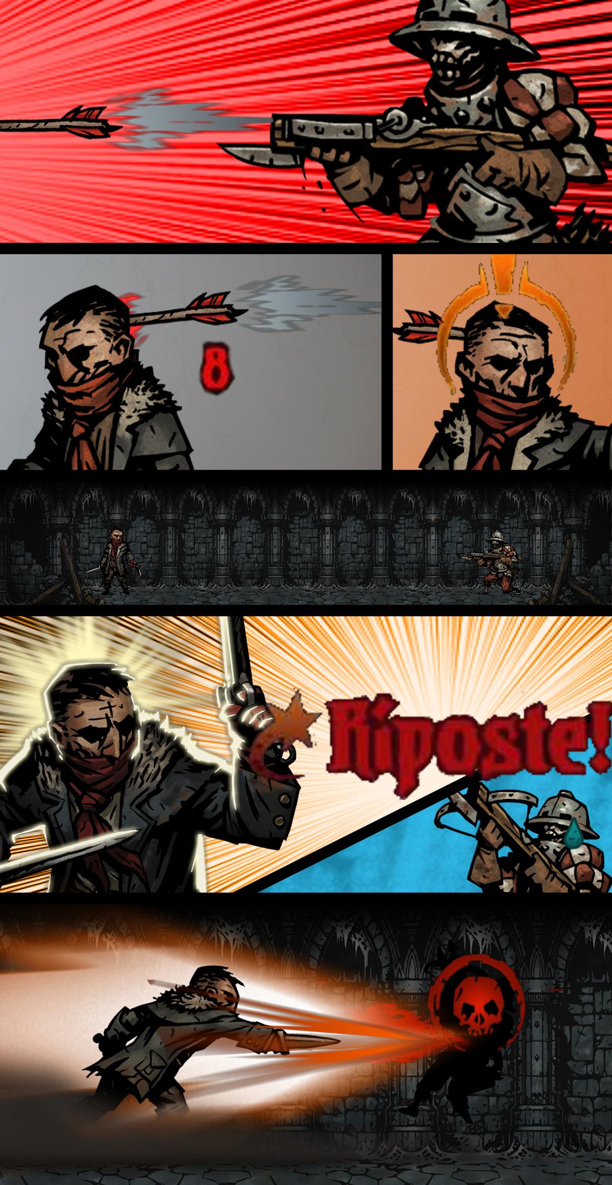 How long-range riposte works. Comic made by papaporo_paprito: www.reddit.com/r/darkestdungeon/comme..... Dio Brando had a third son! Dismas. darkest Dungeon Dismas Highwayman bone Arbalest Riposte arrow to the head comic videogame