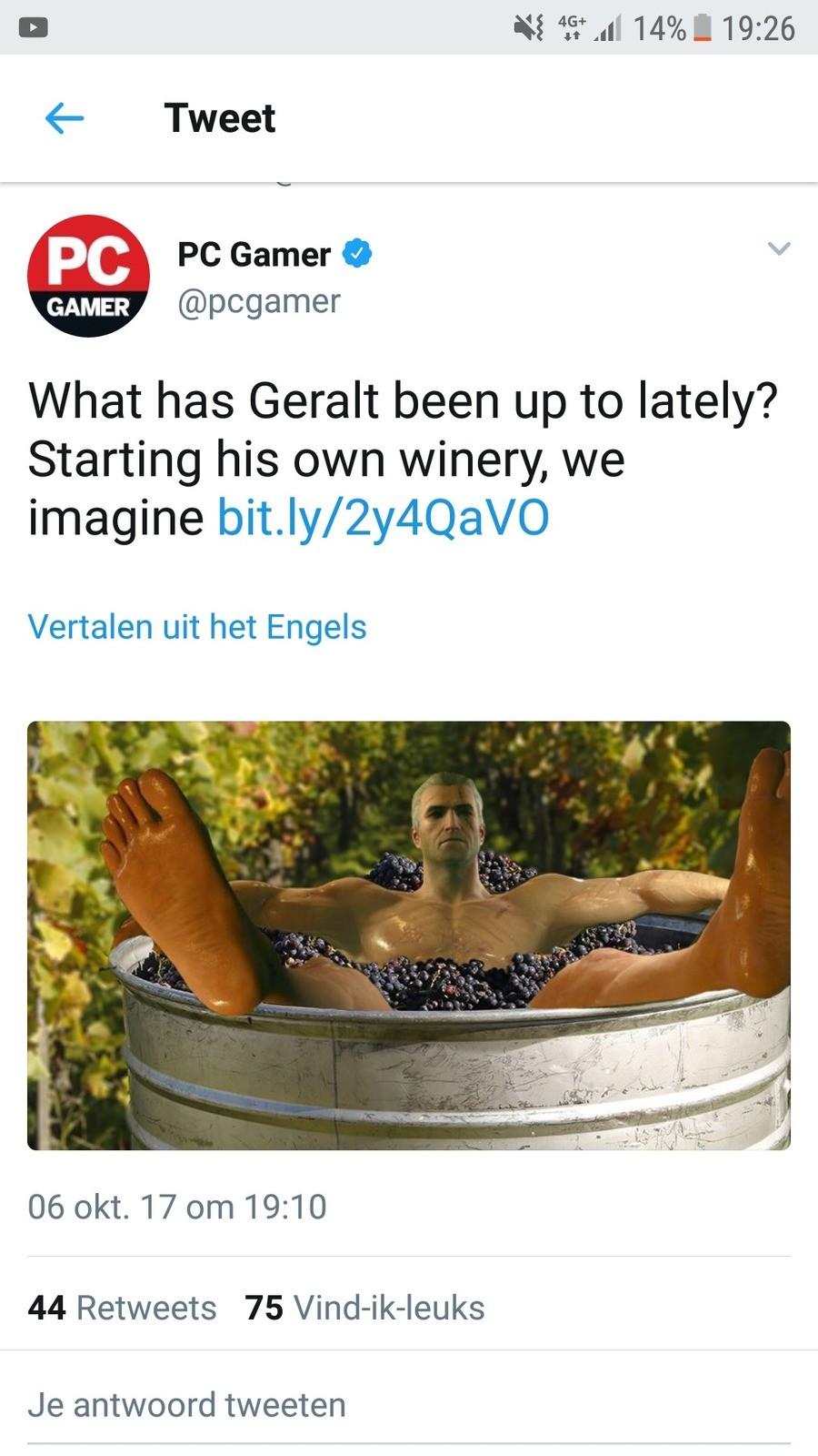 PC Gamer . . 6 Tweet IAI PC Garner to' pcgamer has Geralt been up to lately? Starting his winery, llbe Vertalen uit het Engels 06 on 17 om 19: 10 44 Retweets 75 PC Gamer 6 Tweet IAI Garner to' pcgamer has Geralt been up to lately? Starting his winery llbe Vertalen uit het Engels 06 on 17 om 19: 10 44 Retweets 75