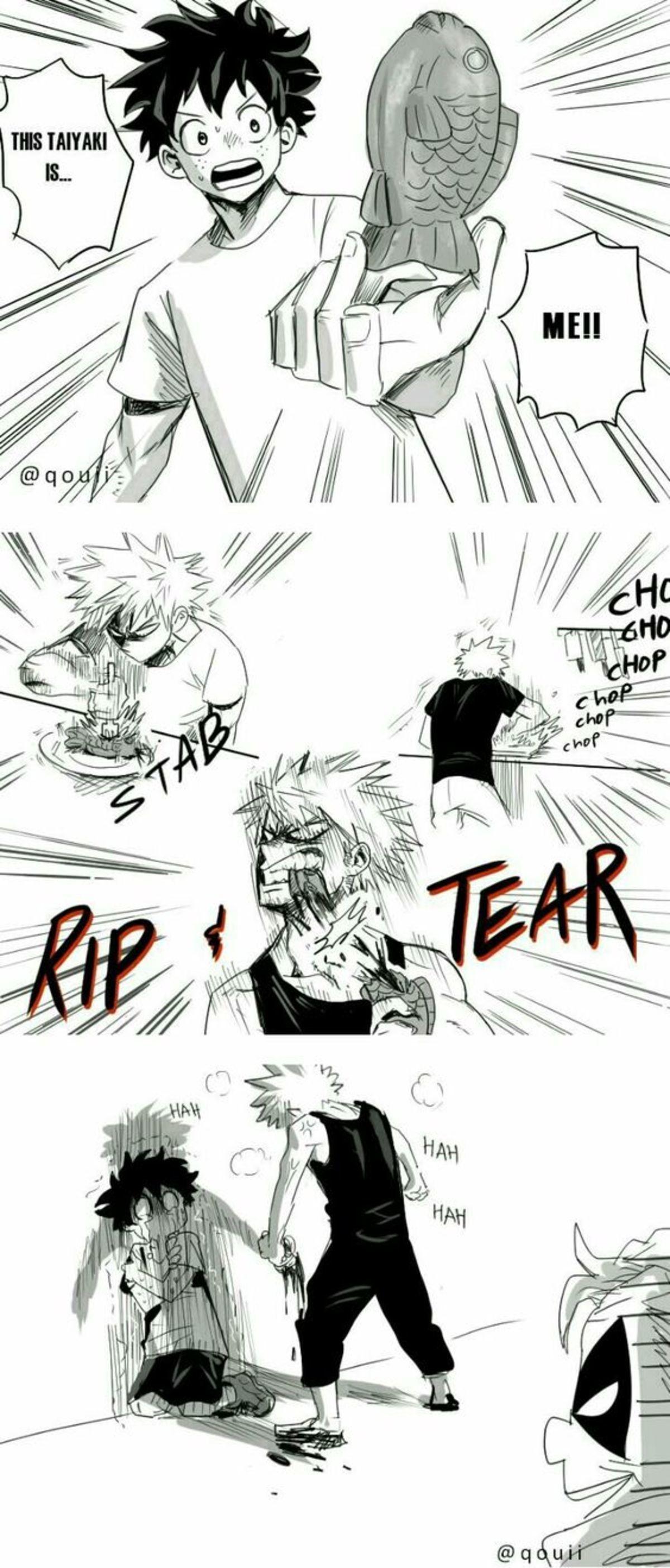 "Taiyaki. .. Kirishima: ""I think Sero'll be first!"" Kaminari: ""But Orijo's there,too."" Mineta: ""I think it'll be Ashido. She's really athletic!&quot Taiyaki Deku kacchan"