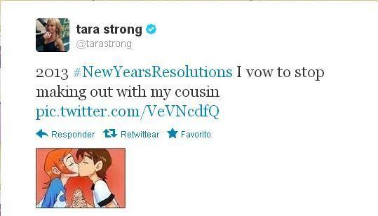 "Tara Strong has a sense of humor.. . I I tara strong G k frf). tarastrong 2013 I vow to stop making out with my cousin co 111 /V EVEN cdfa H Responder "". No! tara strong ben 10"