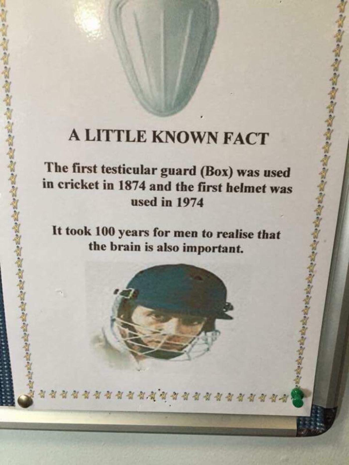 Testicle fact. .. They had leather helmets waaaaaaay before that balls to the wal