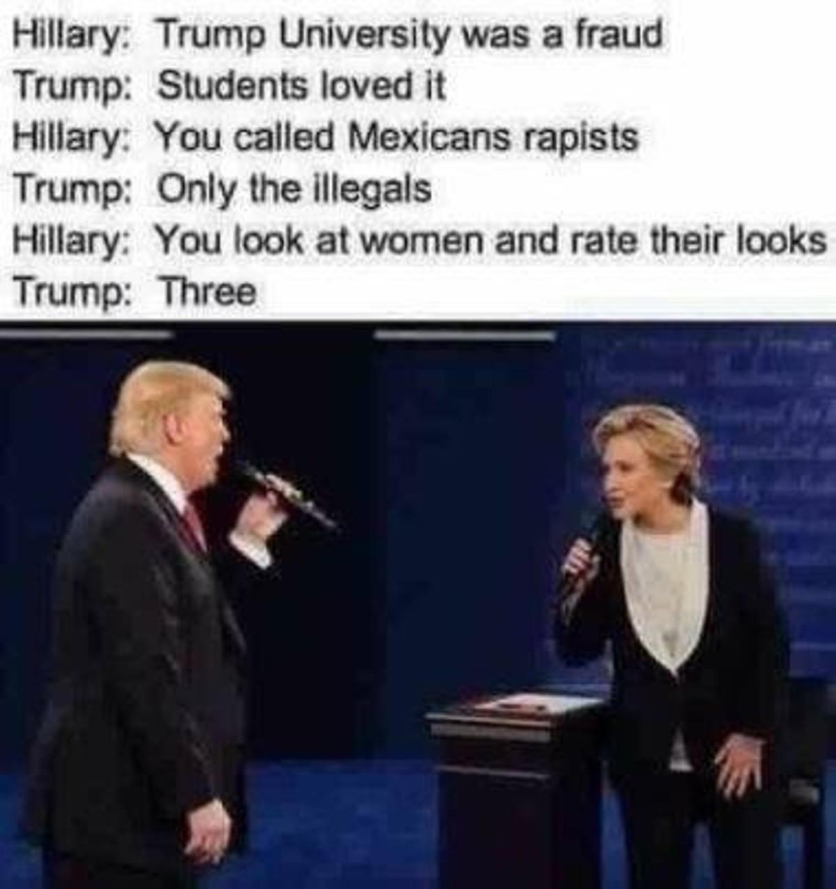 "Trump vs Hillary. . Hillary: '] University 'Cl'"" , ] fraud Trump: '! faiil', F, loved It Hillary: You 'Jill:,',,?),)'], Martians rapists Trump: Only the Illegal Trump vs Hillary Hillary: '] University 'Cl'"" ] fraud Trump: '! faiil' F loved It You 'Jill: ' ?) )'] Martians rapists Only the Illegal"