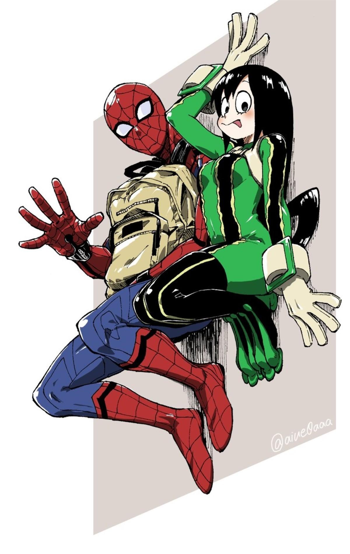 Tsuyu and Spidey. .. gud stuff Marvel BNHA